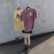 韓国風 夏 新しいデザイン ルース 何でも似合う 着やせ フルーツ プリント 丸襟 ヘッ