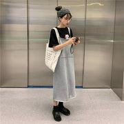 韓国風 カレッジ風 ルース 丸襟 漫画 小 豚 プリント 半袖Tシャツ トップス ストレ