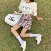 韓国風 夏 新しいデザイン レターズ プリント ルース シャツ レインボー 格子縞 パッ