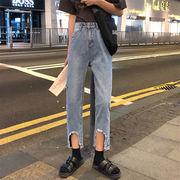 少女 韓国風 春 新しいデザイン 個性 ギャップ デザイン 裾幅 穴あき アンティーク加