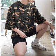 春夏新作メンズTシャツ 半袖トップス 丸首 カジュアル シンプル 迷彩