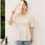 レディースファッション tシャツ ブラウス シンプル ギャザー トップス 韓国