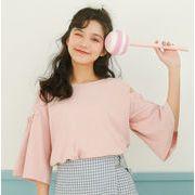 レディースファッション tシャツ ブラウス フレアスリーブ 韓国 トップス 韓国