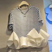 半袖Tシャツ 切り替え バイカラー フリル 体型カバー ボーダー柄 sweet系