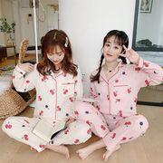 春夏 新作パジャマ 女性 プリント柄 部屋着 長袖 2点セット ルームウェア 寝巻き 韓国ファション 可愛い