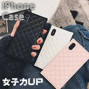 ケース iPhone XS 8/7 8p/7p かわいい   レザーケース キルティング 柄 スクエア 女性 人気 お洒落