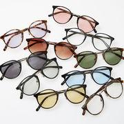 ボストン サングラス メンズ レディース 伊達 メガネ 丸 カラーレンズ 眼鏡 めがね UVカット カジュアル