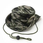 <UV対策・帽子>キッズ帽子 サファリハット テンガロンハット メッシュ付 迷彩グリーン No.407-307