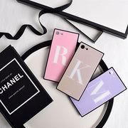 イニシャル・アルファベット・スクエア・Phone8・Plus・iPhoneX・XS・Max・XR[スマホケース/iPhoneケース]