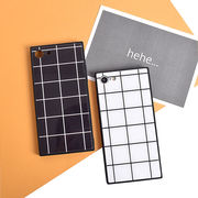 チェック・グリッド・スクエア・ガラス・Phone7・Phone8・Plus・iPhoneX[スマホケース/iPhoneケース]