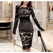人気沸騰 女性美up↑韓国ファッション 新品 ラウンドネック スリムフィット 長袖 中・長セクション ドレス