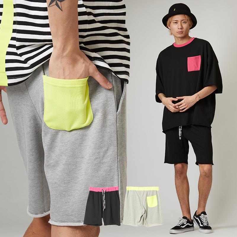 【2019春夏新作】 メンズ 蛍光色使い カットオフ スウェット ショートパンツ ハーフパンツ 短パン スエット