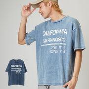 【2019春夏新作】メンズ カットデニム ケミカルウォッシュ BIG 半袖 プリント Tシャツ