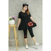春夏新商品730708 大きいサイズ ドレス 婦人服 日韓風 2点 Tシャツ + パンツ3L 4L 5L 6L