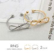 【即納】【リング】全2色!メタルワイヤーリボンモチーフメタル指輪[kgf0356]