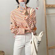 韓国風 春夏季 新しいデザイン ルース 何でも似合う カレッジ風 ストライプ 着やせ ヘ