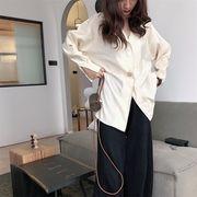 韓国風 ルース 着やせ ラペル シェル バックル スーツの襟 長袖シャツ 何でも似合う