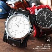 デイズアート DaysArt 腕時計 メンズ 本革 サドルレザー イタリアンレザー ブレスウォッチ 箱付き