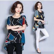 【大きいサイズXL-5XL】ファッショントップス♪ブルー/イエロー2色展開◆