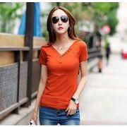 【大きいサイズS-3XL】ファッショントップス♪ブラック/ホワイト/オレンジ3色展開◆