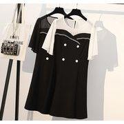 【大きいサイズXL-5XL】ファッションワンピース♪ホワイト/ブラック2色展開◆