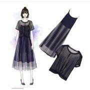 【大きいサイズXL-5XL】【春夏新作】ファッション/2枚セットワンピース