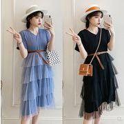 【大きいサイズXL-5XL】ファッション/人気ワンピース♪ライトブルー/ブラック2色展開◆