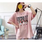 【春夏新作】ファッションTシャツ♪ピンク/ライトグリーン2色展開◆