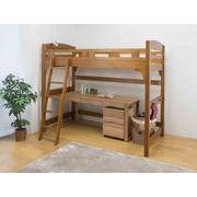 揺れの少ない天然木棚付ロフトベッド