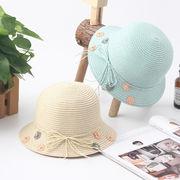 草編み 可愛い親子帽子 サンバイザー  麦わら帽子 ビーチハット UV対策 日除け