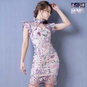3133フラワー刺繍レースミニドレス パーティードレス キャバドレス