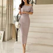 Fashions、2019新品 韓国ファッション  CHIC気質  ニット セクシー 半袖 中・長セクション ドレス