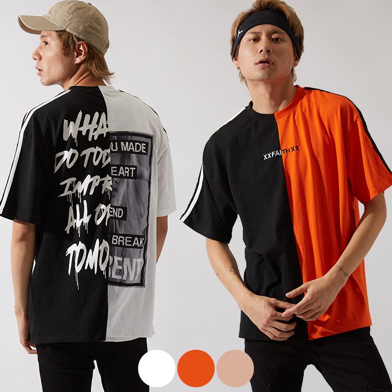 【2019春夏新作】メンズ 袖ライン ドッキング デジタルプリント BIG シルエット 半袖 Tシャツ