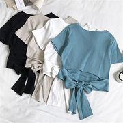 初回送料無料 2019 へそ出し リボン付き 半袖 Tシャツ 大人気 全4色 cjtty-1904bx155春夏 新作