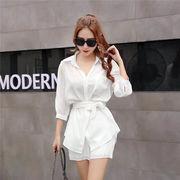 【春先行即納SALE 】今季トレンド  韓国ファッション 白シャツ カジュアルセット パンツ ツーピース