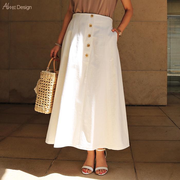 【A-9】コットン プリペラ ボタン フレア スカート