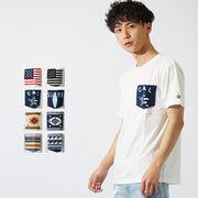 【2019春夏新作】メンズ 8柄 展開 さがら刺繍 ポケット 半袖 Tシャツ