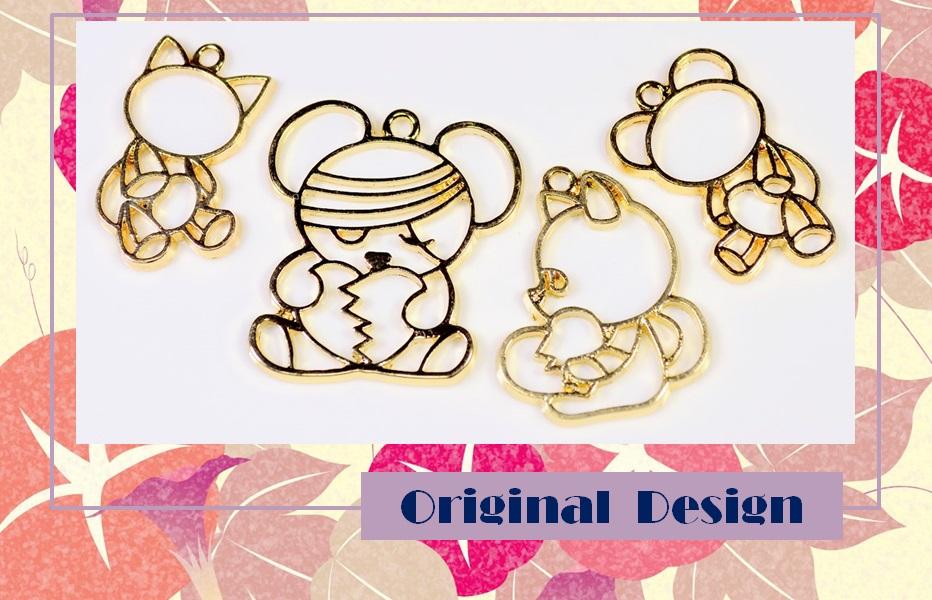 【アンティークパーツ】猫フレーム 猫雑貨 熊チャーム レジン空枠 レジンフレーム