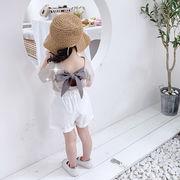 格安!キッズ★韓国子供服★ブラウス★アメリカン★シャツ+ショートパンツ セット★リボン7-15選択可