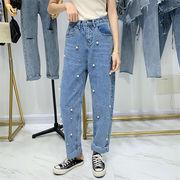 夏も使える   韓国ファッション ハイウエスト スリム ジーンズ 女性 新品 ビーズ ワイルド ストレート