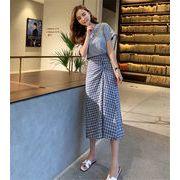 女性美up↑  韓国ファッション 新品 夏 スリムフィット チェック柄 スカート セット ツーピース