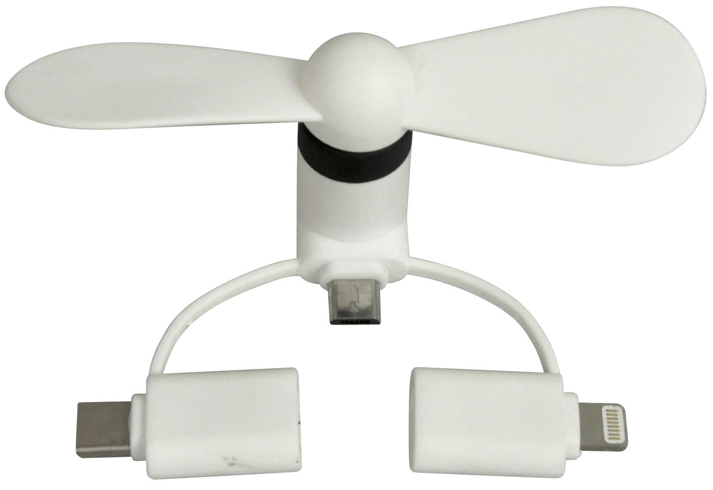 <AMANO>【Mobile Fan】モバイルファン・ホワイト 3WAY=iPhone+microUSBtypeB+USBtypeC