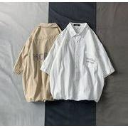 メンズ新作ワイシャツ 半袖トップス カジュアル ゆったり ホワイト/ベージュ/ピンク3色