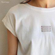 【W-4】whatever 刺繍 ロゴ フレンチスリーブ Tシャツ