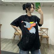 春夏新商品730796  大きいサイズ 韓国 レディース ファッション Tシャツ ワンピース  LL-4L