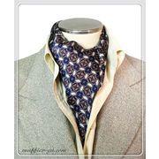 エレガントな袋縫いプリント柄入りメンズ用100%シルクスカーフ 10139