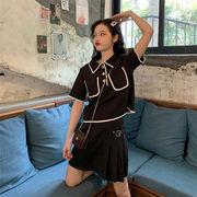 着痩せ効果 2019  女の子ファッション 夏 ツーピース sweet系  レトロ トップス  ミニスカート