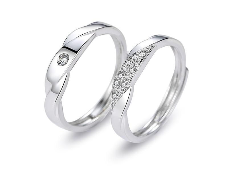 指輪 リング 誕生日プレゼント カップル 婚約指輪 プラチナ仕上 シルバー925 フリーサイズ ペアリング