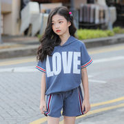 Tシャツ パーカー キッズ 半袖 女の子 短パン 半ズボン セット上下2点 通気 韓国子供服 夏服 新作 セール