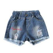 女児 パンツ 新しいデザイン 夏服 女 赤ちゃん 穴あき デニム ショートパンツ バリ